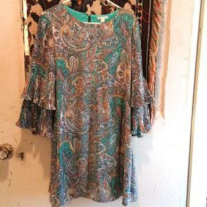 C est 1946 Multicolored Paisley Ruffly Midi Dress